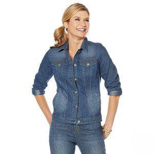 NWT DG2 Pinstripe Stretch Denim Jacket XL Blue